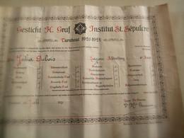 DIPLOME ANCIEN 1920/1921 INSTITUT ST SEPULCRE TURNHOUT DUBOIS Julia - Diplômes & Bulletins Scolaires