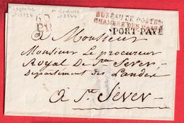 MARQUE BUREAU DE POSTES CHAMBRE DES PAIRS 60PP ROUGE PORT PAYE NOIR ST SEVER LANDES - 1801-1848: Precursors XIX