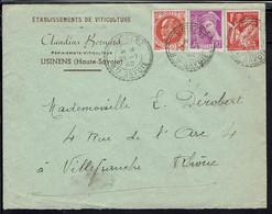 """Fr. 1942 """"Ets. De Viticulture Claudins Bernard - Usinens"""" Affr. Types Variés à 1,50 F Sur Enveloppe Pour Villefranche - - Covers & Documents"""