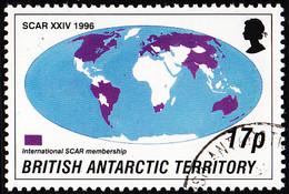 British Antarctic Territory 1996 Used Sc #235 17p World Map SCAR Members - Usati