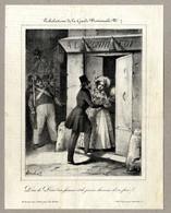 Charivari Antique Print 1835 Caricature Tribulation De La Garde Nationale Dieu De Dieu Ma Femme Lithography By Junca - Estampes & Gravures