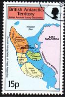 British Antarctic Territory 1999 Used Sc #280 15p Map Of West Antarctica - Usati