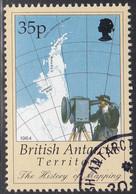 British Antarctic Territory 1998 Used Sc #255 35p Map, Man Radar Rangefinder - Used Stamps