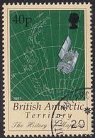 British Antarctic Territory 1998 Used Sc #256 40p Map, Satellite - Used Stamps