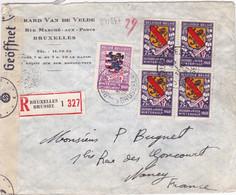 24184# BELGIQUE COB N° 541 542 ARMOIRIES LETTRE RECOMMANDE CENSURE ALLEMANDE BRUXELLES BRUSSEL 1941 NANCY MEURTHE - Covers