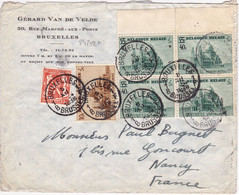 24202# BELGIQUE BASILIQUE KOEKELBERG Dont 482 LETTRE Obl BRUXELLES BRUSSEL 1938 Pour NANCY MEURTHE ET MOSELLE - Covers & Documents