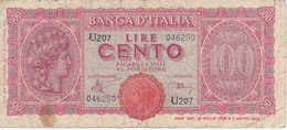 BILLETE DE ITALIA DE 100 LIRAS DEL AÑO 1944  (BANKNOTE) - 100 Lire