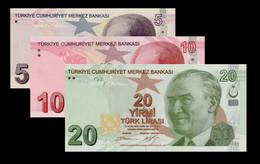 Turkey 5 10 20 2009 UNC P222C P223B P224B - Turkey
