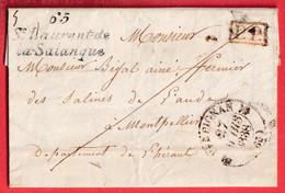CURSIVE 65 ST LAURENT DE LA SALANQUE PYRENEES ORIENTALES + PP ROUGE CAD TYPE 12 PERPIGNAN MONTPELLIER 1838 INDICE 10 - 1801-1848: Voorlopers XIX