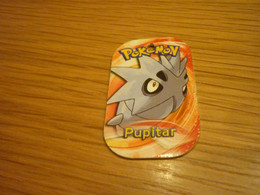 Pupitar Rock/Ground-type Pokemon 2014 Greek Edition Rare Metal Tag #375 - Pokemon