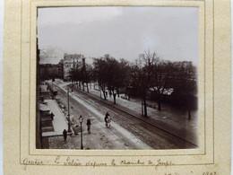 Genève. Boulevard Plainpalais. Chaine Du Salève. 1902. 7.5x8 Cm. Collée Sur Encadrement - Lieux