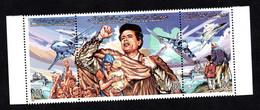 1998- Libya- Libye- USA- American Agression - Qaddafi – Strip Of 3 Stamps -MNH** - Libya