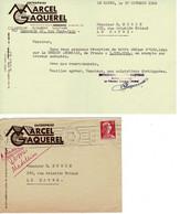 Facture - Reçu : MARCEL GAQUEREL Le Havre Enveloppe Et Reçu Du 17 Octobre 1956. - Switzerland