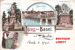 Suisse Bale Gruss Aus Basel Alte Rhein Brucke Jacobs Denkmal Strassburger Denkmal + Timbre Paire Timbres Cachet 1898 - BS Basle-Town