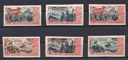 1947  RUSSIA, SOVIET, OCTOBER REVOLUTION, 30th ANNIVERSARY, SET OF 6 STAMPS, MNH, IMPERF - Ungebraucht