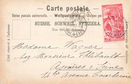 Suisse Timbre Jubilé Union Postale Universelle Sur Cpa Carte Postale Cachet 1900 - Covers & Documents