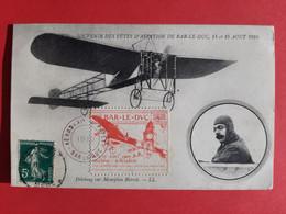 55 - MEUSE / RARE CPA /SOUVENIR DES FETES D' AVIATION DE BAR - LE - DUC DES 14 ET 15 AOUT 1910 / VIGNETTE / DOS SCANNE - Bar Le Duc