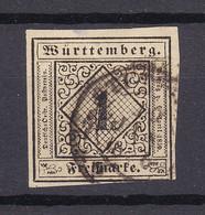 Wuerttemberg - 1851/52 - Michel Nr. 1 K2 - Gestempelt - 130 Euro - Wurttemberg