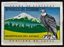 Vintage Ecuador Matchbox Label - An Eagle In The Mountains - Boites D'allumettes - Etiquettes
