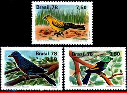 Ref. BR-1557-59 BRAZIL 1978 ANIMALS, FAUNA, BIRDS,CANARY,COTINGA,, TANAGER FASTUOSA,MI#1651-53,MNH 3V Sc# 1557-1559 - Songbirds & Tree Dwellers