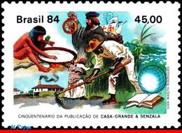 Ref. BR-1898 BRAZIL 1984 BOOKS, PUBLICATION 'MASTERS AND, SLAVES', SHIPS, MI# 2017, MNH 1V Sc# 1898 - Unused Stamps