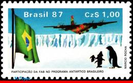 Ref. BR-2096 BRAZIL 1987 PLANES, AVIATION, AIR FORCE C-130 TRANSPORT, PLANE, FLAG, THE ANTARCTIC, MNH 1V Sc# 2096 - Penguins