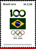 Ref. BR-3277 BRAZIL 2014 SPORTS, BRAZILIAN OLYMPIC, COMMITTEE, CENT., FLAG, MNH 1V Sc# 3277 - Other