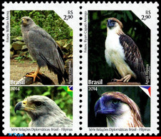 Ref. BR-3278 BRAZIL 2014 BIRDS, DIPLOMATIC RELATIONS WITH, PHILIPPINES, EAGLES, MNH 2V Sc# 3278 - Eagles & Birds Of Prey