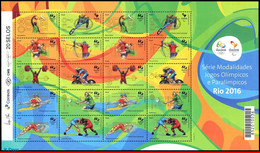 Ref. BR-3298 BRAZIL 2015 SPORTS, OLYMPIC AND PARALYMPIC, GAMES, RIO 2016, 1ST SERIES SHEET MNH 20V Sc# 3298 - Verano 2016: Rio De Janeiro