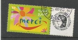 3433  Timbre Personnalisé       Merci            Oblitéré   (clasvert12) - Gepersonaliseerde Postzegels