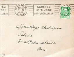 """LETTRE 1950 -  """"ACHETEZ LE TIMBRE ANTITUBERCULEUX"""" - CACHET POSTAL PARIS TRI N°1 DEPART - - Mechanical Postmarks (Advertisement)"""