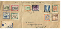 (PP 12) Niue Posted Registered To New Zealand 1950 - (set Of 10 Stamps On Cover) - Niue