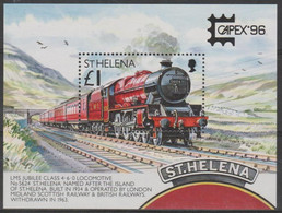 ST HELENA - 1996 Capex Trains Souvenir Sheet. Scott 681. MNH - Saint Helena Island