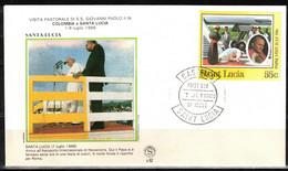 289b * INTERRESSANTE AUSGABE * REISE VON JOHANNES PAUL II NACH SANTA LUCIA * ANKUNFT AM FLUGHAFEN **!! - St.Lucia (1979-...)