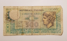 "Billet De 500 Lire ""Mercurio"" Italie **1976 *** P# 95 - 500 Liras"