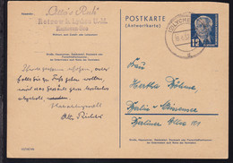Wilheln Pieck 12 Pfg. Antwortteil Ab Lychen 18.4.52 Nach Berlin-Weissensee - Sin Clasificación