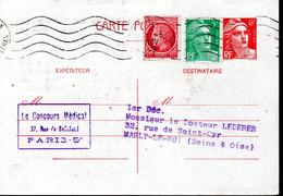 ENTIER POSTAL 1949 - TYPE MARIANNE DE GANDON AVEC COMPLT AFFRANCHISSEMENT - - Cartoline Postali E Su Commissione Privata TSC (ante 1995)