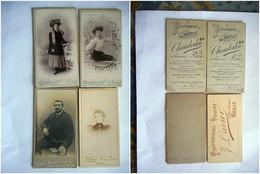 LOT DE 4 PHOTO MINI CDV FEMMES CHAPEAU   MODE   Cabinet CHAMBERLIN LAVIER BOIVIN  A PARIS - Anciennes (Av. 1900)