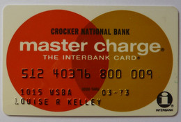USA - Credit Card - Master Charge - Crocker National Bank - Exp 03/73 - Used - Credit Cards (Exp. Date Min. 10 Years)