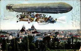 CPA Erfurt In Thüringen, Partie Mit Dem Zeppelin über Der Stadt - Other