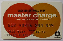 USA - Credit Card - Master Charge - Crocker National Bank - Exp 03/75 - Used - Credit Cards (Exp. Date Min. 10 Years)