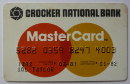 USA - Credit Card - MasterCard - Crocker National Bank - Exp 01/82 - Used - Credit Cards (Exp. Date Min. 10 Years)