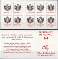 MONACO Carnet 15 ** MNH Armoiries De La Principauté 10 Timbres Validité Permanente 2005 - Carnet