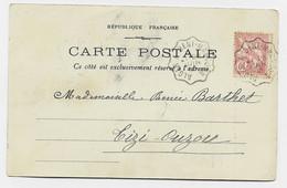 MOUCHON 10C CONVOYEUR ALGER A BENI MANCOUR 28 JUIN 1903 CARTE ALGERIE - Railway Post