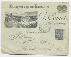 SAGE 15C ENVELOPPE ENTETE MANUFACTURE DE LAINAGES BAGNERES DE BIGORRE CONVOYEUR BAGNERES DE BIGORRE A TARBES 1893 - Railway Post