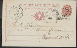 STORIA POSTALE REGNO - CARTOLINA POSTALE UMBERTO (INT. 25/901) DA TORINO 3.APR.02 PER VEZZA D'ALBA - Marcophilie