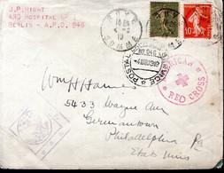 LETTRE FRANCE 1919 - POSTEE DANS LA SOMME - CROIX ROUGE AMERICAINE - CACHET SERVICE POSTAL - CENSURE AMERICAINE - - Red Cross