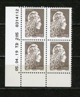 M. D'YZ (L'ENGAGÉE) 0,05€ BRUN N°Yt 5249**  COIN DATÉ DU 5/4/19 AVEC PETITE TACHE SUR POSTE (POS E) - 2010-....