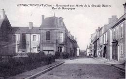 18 - Cher -  HENRICHEMONT - Monument Aux Morts De La Grande Guerre - Rue De Bourgogne - Café / Restaurant - Henrichemont
