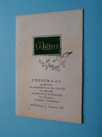 FEESTMAAL HUWELIJK Van D'HOOGHE & TERREUR : Sint Niklaas 31 Aug 1955 / MENU ( Afm. +/- 16 X 10,5 Cm.) ! - Menus